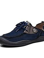 Masculino Oxfords Conforto Sapatos de mergulho Outono Inverno Pele Real Couro de Porco Casual Festas & Noite Cadarço Rasteiro Azul Khaki