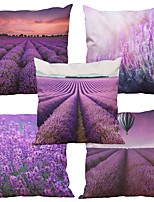 Set of 5  LavenderPattern Rayon Material Looks Like Silk Feeling Square Throw Pillow Cases Sofa Cushion Cover (18*18inch)
