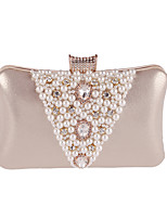 Women Bags All Seasons Polyester Evening Bag Rhinestone Crystal Pearl Detailing for Wedding Event/Party Formal Gold Silver