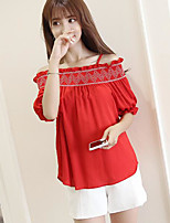 Women's Casual/Daily Simple Shirt,Solid Strap Half Sleeves Cotton