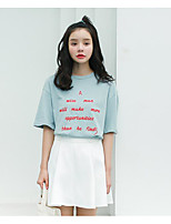 Women's Casual/Daily Simple T-shirt,Embroidery Round Neck Half Sleeves Cotton