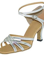 Women's Latin Faux Leather Sandals Performance Criss-Cross Stiletto Heel Silver 3