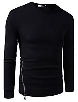 Herren Pullover Lässig/Alltäglich Einfach Solide Rundhalsausschnitt Mikro-elastisch Baumwolle Lange Ärmel Herbst Winter