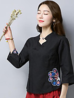 Women's Casual/Daily Simple Chinoiserie Spring Shirt,Embroidery Stand 3/4 Length Sleeves Linen Medium