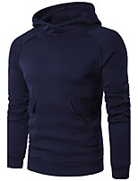 Men's Daily Casual Hoodie Solid Hooded Micro-elastic Cotton Acrylic Long Sleeve Winter Fall