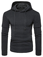 Men's Sports Casual/Daily Simple Hoodie Solid Hooded Micro-elastic Cotton Long Sleeve Fall Winter