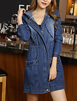 Women's Going out Simple Fall Winter Denim Jacket,Solid Shirt Collar Long Sleeve Long Polyester