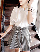Women's Casual/Daily Simple Summer Shirt Pant Suits,Striped Shirt Collar ¾ Sleeve