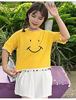 Dames Eenvoudig T-shirt,Casual/Dagelijks Effen Print Ronde hals Korte mouw Katoen