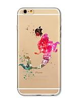 Caso per iphone 7 plus 7 coperchio trasparente pattern copertina posteriore cartone animato sirena morbido tpu per mela iphone 6s più 6