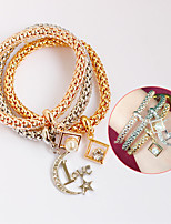 Bracelet Leather Bracelet Wrap Bracelet Leather Love Friendship Bohemia Style Party Daily Casual Jewelry Gift Gold,1pc