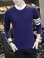 Men's Casual/Daily Short Pullover,Solid Round Neck Long Sleeves Wool Polyester Others Spring Fall Thin Micro-elastic