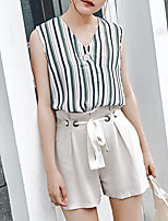 Women's Casual/Daily Simple Tank Top,Striped Color Block V Neck Sleeveless Cotton
