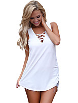 Women's Holiday Going out Casual/Daily Sexy Summer Tank Top,Solid V Neck Sleeveless Polyester Spandex Medium
