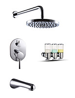 Contemporary Chrome Finish Wall Mounted Shower Faucet Double Handles Brass with Square Shower Head and Hand Shower