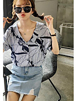 Women's Going out Simple Shirt,Solid Print Deep U Short Sleeves Cotton