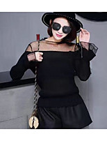 Women's Casual/Daily Sexy Blouse,Solid Round Neck Long Sleeves Cotton Polyester