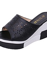Women's Slippers & Flip-Flops Light Soles Spring Fall PU Casual Flower Wedge Heel Black White 2in-2 3/4in