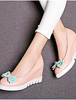 Women's Shoes PU Summer Comfort Heels For Casual White Blushing Pink