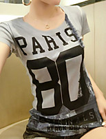 Feminino Camiseta Casual Simples Estampado Algodão Decote Redondo Manga Curta