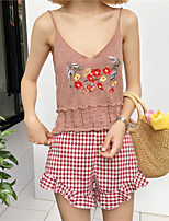 Women's Casual/Daily Sexy Cute Tank Top,Embroidery V Neck Sleeveless Cotton Polyester