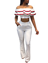 Women's Daily Casual Vacation Ruffled Flare Sleeve Off Shoulder Street chic Spring Summer T-shirt Pant SuitsStriped Sexy Fashion Bateau Backless