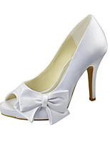 Femme Chaussures de mariage Escarpin Basique Printemps Eté Satin Elastique Mariage Habillé Noeud Talon Aiguille Blanc 10 à 12 cm