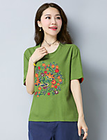 Women's Casual/Daily Simple T-shirt,Embroidery Round Neck Short Sleeves Cotton