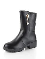 Women's Boots Comfort Combat Boots PU Fall Winter Casual Flat Heel Burgundy Black Flat