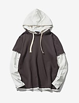 Men's Plus Size Personality Casual Slim Fake Two-piece Hooded Sweatshirt
