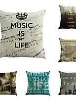 Set Of 6 Vintage Music Is Life Printing Pillow Cover Classic Creative Pillow Case