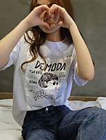 Women's Casual/Daily Simple T-shirt,Print Round Neck Short Sleeves Cotton