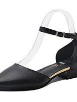 Women's Heels T-Strap Comfort Summer PU Walking Shoes Casual Pearl Flat Heel Black Dark Grey 2in-2 3/4in