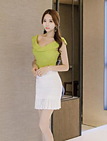 Women's Casual/Daily Simple Summer T-shirt Skirt Suits,Solid Boat Neck Sleeveless