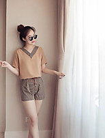 Women's Casual/Daily Simple Summer T-shirt Pant Suits,Striped V Neck Short Sleeve