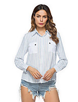 Women's Casual/Daily Street chic Spring Fall Shirt,Striped Shirt Collar Long Sleeves Cotton Medium