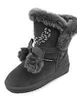 Women's Boots Snow Boots Fall PU Casual Flat Heel Gray Black 1in-1 3/4in