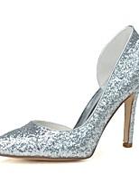 Damen High Heel formale Schuhe Frühling Sommer Glanz Kleid Stöckelabsatz Gold Silber 7,5 - 9,5 cm