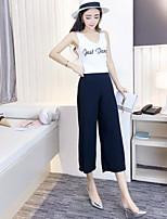 T-shirt Pantalone Completi abbigliamento Da donna Casual Semplice Estate,Tinta unita Rotonda Senza maniche Elastico