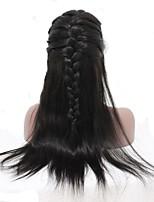 Donna Parrucche di capelli umani con retina Indiano Cappelli veri Senza colla e con tulle integrale 120% Densità Con ciuffetti Lisci