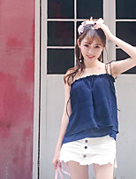 Women's Casual/Daily Simple Blouse,Solid Strap Sleeveless Cotton
