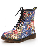 Women's Boots Walking Comfort Novelty Cowboy / Western Boots Combat Boots Canvas Fall Winter Casual Outdoor Office & Career Lace-upFlat