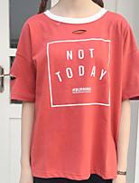 T-shirt Da donna Casual Semplice Tinta unita Con stampe Rotonda Cotone Mezza manica