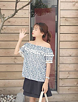 Women's Casual/Daily Simple Blouse,Floral Boat Neck Short Sleeves Cotton