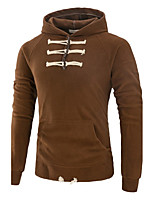 Men's Plus Size Casual/Daily Simple Hoodie Solid Hooded Micro-elastic Polyester Long Sleeve Fall Winter