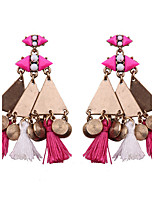 Bohemia Women Metal Triangle Fabric Tassel Alloy Drop Earrings