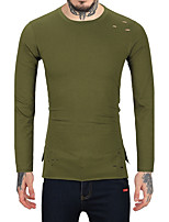 Men's Casual/Daily Work Club Vintage Simple Regular Pullover,Solid Round Neck Long Sleeves Wool Cotton Rayon Fall Winter Medium
