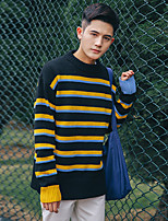 Men's Going out Casual/Daily Short Pullover,Striped Round Neck Long Sleeves Polyester Spandex Others Spring Fall Medium Micro-elastic