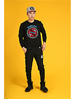 HEARTSOUL Men's Sports Running Going out Casual/Daily Simple Street chic Punk & Gothic Sweatshirt Print Oversized Round Neck Micro-elasticCotton