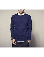 Men's Going out Casual/Daily Vintage Simple Regular Pullover,Solid Polka Dot Round Neck Long Sleeves Cotton Rayon Fall Winter Medium Thick